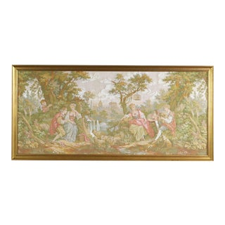 """Large Framed (66""""x32"""") French Tapestry Depicting Romantic Couples in a Bucolic Scenery For Sale"""
