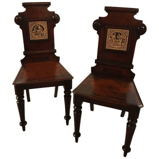 19th Century English Hall Chairs With Minton Tiles - a Pair For Sale