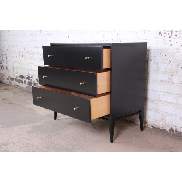 Metal Paul McCobb Planner Group Black Lacquered Three-Drawer Bachelor Chest, Newly Restored For Sale - Image 7 of 13