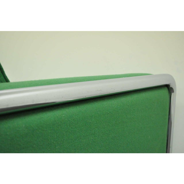 Green Mid Century Modern Milo Baughman Style Tubular Chrome Frame Green 3 Seat Sofa For Sale - Image 8 of 10