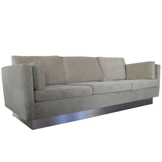 Tuxedo Sofa in Milo Baughman Style For Sale