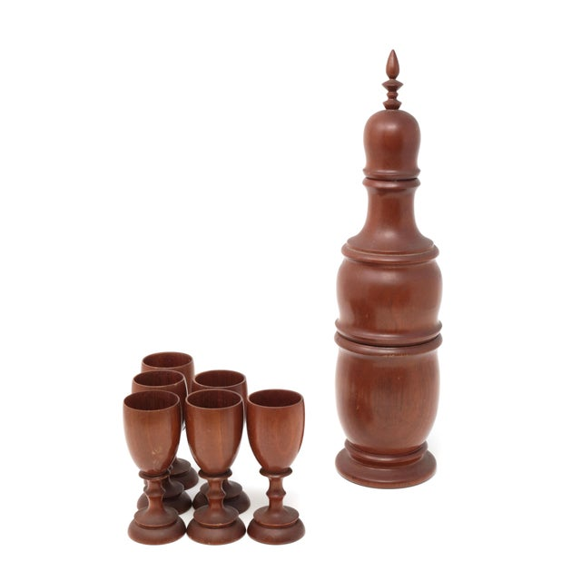 Vintage Mid-Century Modern Wood Decanter and Cups - Set of 7 For Sale In Tampa - Image 6 of 11