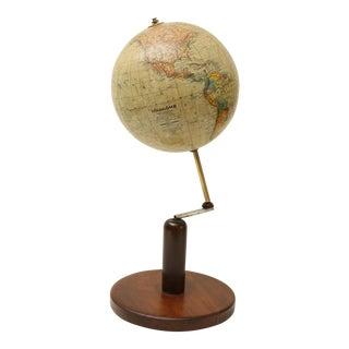 Continental World Globe on Walnut Stand
