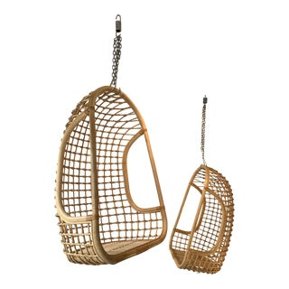 Bonacina, Italy Rattan Egg Cage Armchairs - a Pair For Sale