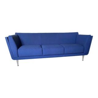 Herman Miller Molded Plywood Vivid Blue Mark Goetz Walnut Sofa For Sale