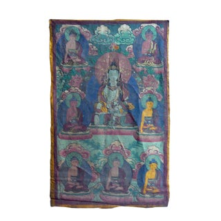 Vintage Tibetan Hand-painted Tara Buddha Fabric Thangka Art For Sale