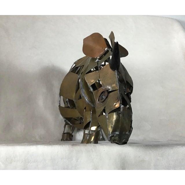 Metal Vintage Mid-Century Brutalist Brass Copper Rhino Freestanding Sculpture For Sale - Image 7 of 11