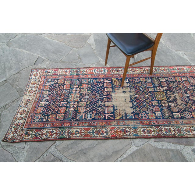 House of Séance - 20th Century Antique Caucasian Handwoven Rug - 3′1″ × 10′10″ For Sale - Image 4 of 11