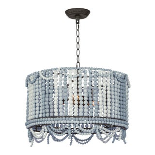 Malibu Drum Pendant in Weathered Blue For Sale
