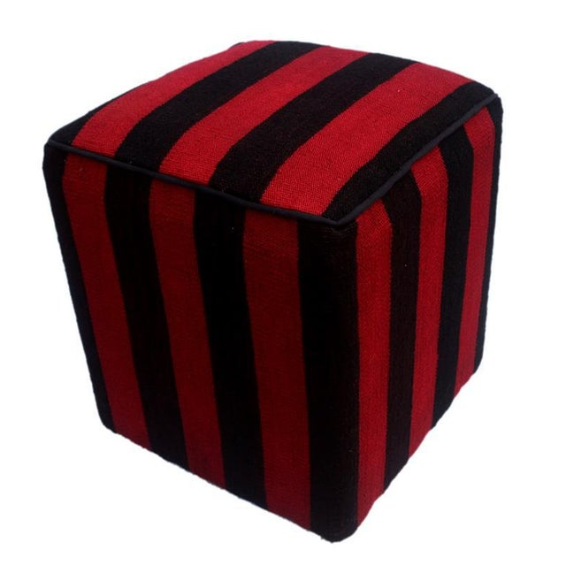 Red Arshs Domoniqu Red/Black Kilim Upholstered Handmade Ottoman For Sale - Image 8 of 8