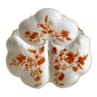 Vintage Haviland Limoges Orange Floral Motif With Gold Clover Leaf Divided Tray For Sale