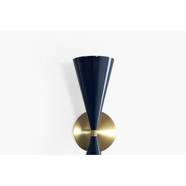 "Blueprint Lighting Brass & Midnight Enamel ""Tuxedo"" Wall Sconces - a Pair For Sale - Image 4 of 12"
