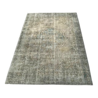 1920s Antique Turkish Distressed Rug- 6′1″ × 10′6″ For Sale