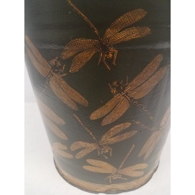 English Antique Dark Green Bucket / Pail With Decoupage Dragonflies - Found in Southern England For Sale - Image 4 of 9