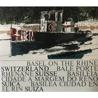 Vintage 1960s Swiss Travel Poster, Hugo Wetli, Basel on the Rhine For Sale
