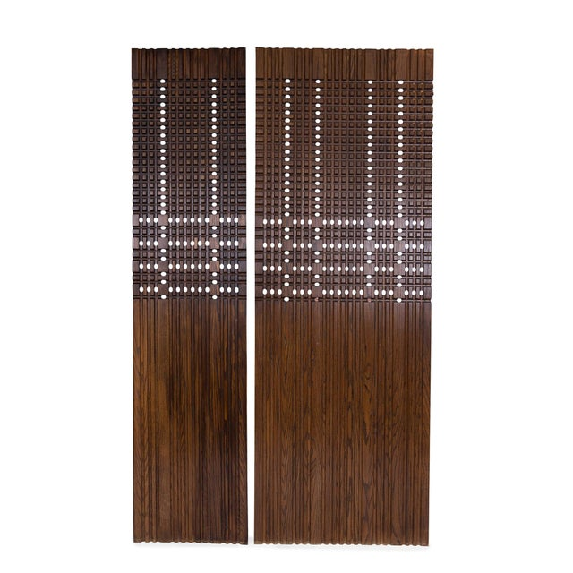 Carved walnut architectural panels circa early 1960s. These are perfect as headboards, architectural accents or screens....