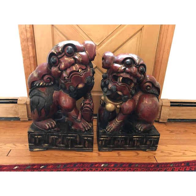 Pair of Carved and Painted Wooden Foo Dog Statues - Image 2 of 8