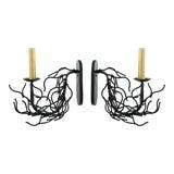 Image of Faux Coral Black Single Arm Sconces - a Pair For Sale