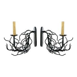 Faux Coral Black Single Arm Sconces - a Pair For Sale