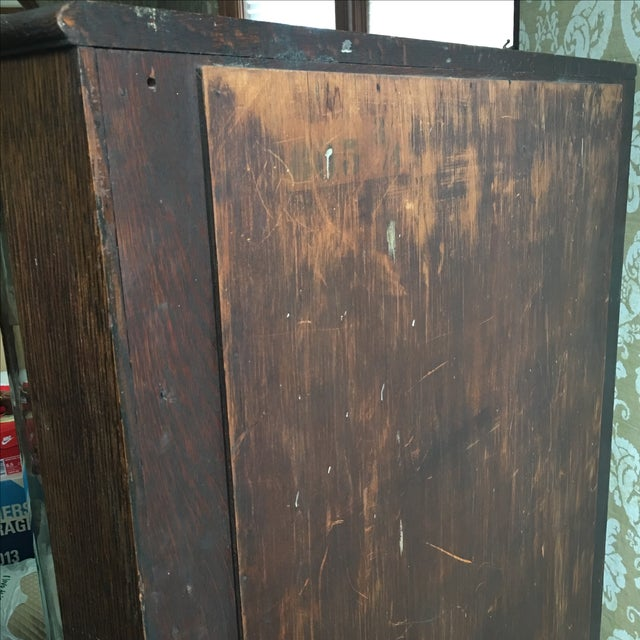 Antique Curved Glass Cabinet With Glass Shelves For Sale - Image 4 of 8