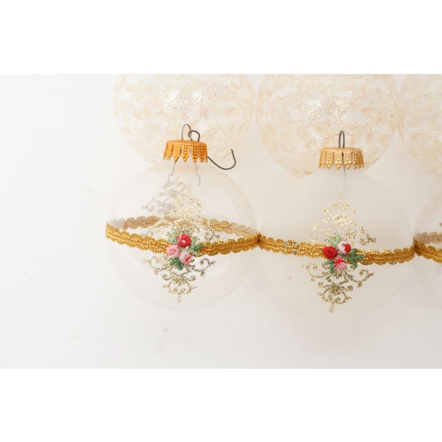 1960s Mid-Century White Christmas Ornaments w/Box - Set of 6 For Sale - Image 5 of 8