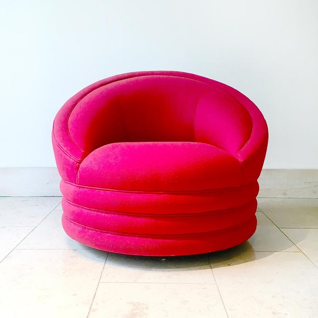 Scarlet Red Wool Upholstered Swivel Armchair with Deep Channel Detail to the Base 1980s Reupholstered by Talisman...