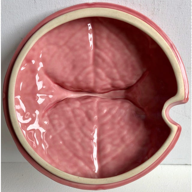 Bordado Pinheiro Pink Cabbage Leaf Majolica Tureen, Lid, Platter& Ladle For Sale In New York - Image 6 of 11