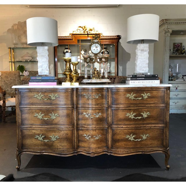1960s French Provincial 9-Drawer Marble Top Dresser For Sale - Image 11 of 13