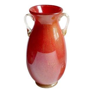 Murano Vintage Red Gold Flecks High Gloss Italian Art Glass Double Handles Flower Vase For Sale