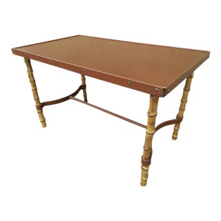 Jacques Adnet Rare Bamboo and Hand Stitched Brow Leather Coffee Table For Sale