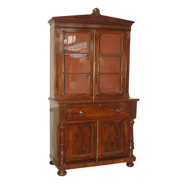 Early 19th Century English Regency Period Secretary Bookcase For Sale
