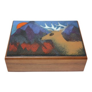 Vintage Walnut and Enamel 'Deer' Playing Card / Jewelry Box by Decatur Industries For Sale