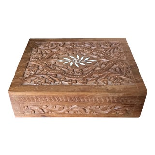 1970s Boho Chic Indian Hand Carved Wooden Box For Sale