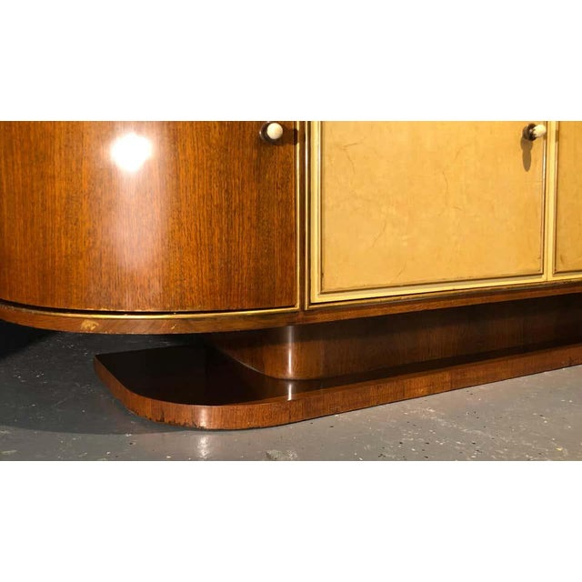 Brown French Art Deco Sideboard or Credenza With Parchment Front, Monumental For Sale - Image 8 of 13