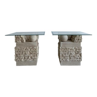1980s Ceramic Stone Style Side Tables - a Pair For Sale