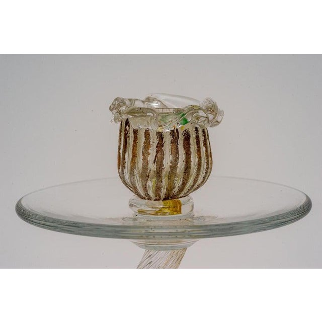 Hollywood Regency Vintage Yellow Murano Candle Holders - a Pair For Sale - Image 3 of 13