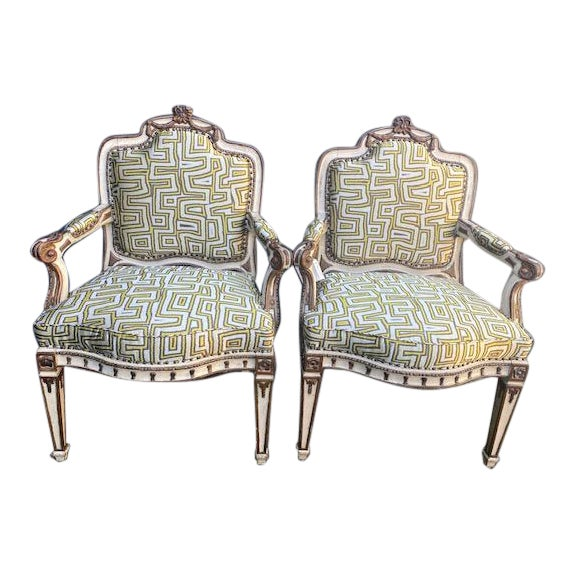 Early 19th C. Italian Painted Carved Arm Chairs- A Pair For Sale