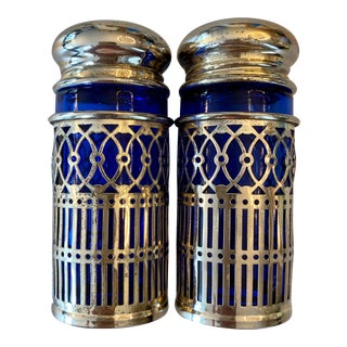 Vintage Silver Plate and Sapphire Glass Salt and Pepper Shakers For Sale