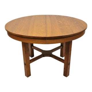 1900s Arts and Crafts L & Jg Stickley Round Dining Table For Sale