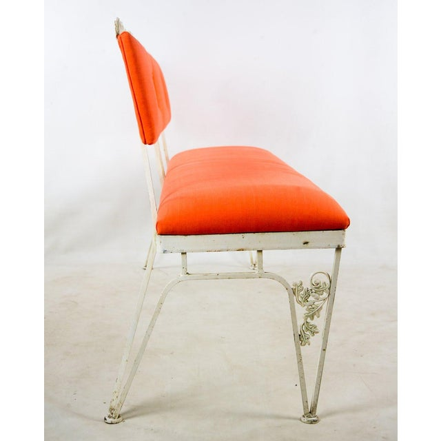Hollywood Regency Hollywood Regency Orange and White Iron Benches - a Pair For Sale - Image 3 of 13