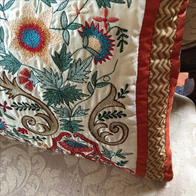 Luxury Silk Embroidered Decorative Pillow - Image 7 of 8