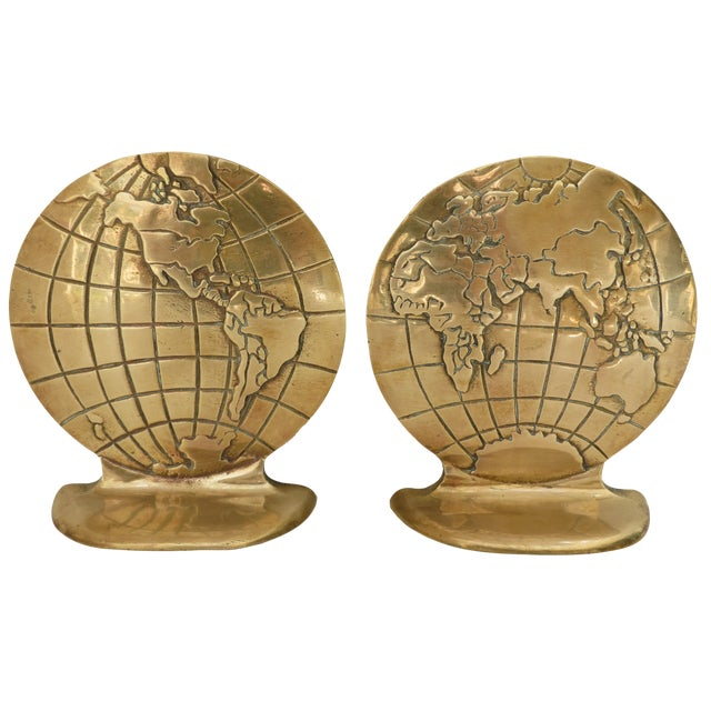 Solid Brass Globe Bookends - A Pair - Image 1 of 6