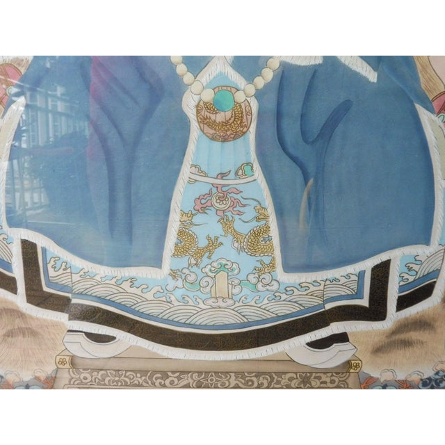 Chinese Hand Painted Chinese Ancestor Portrait Paintings - a Pair For Sale - Image 3 of 13
