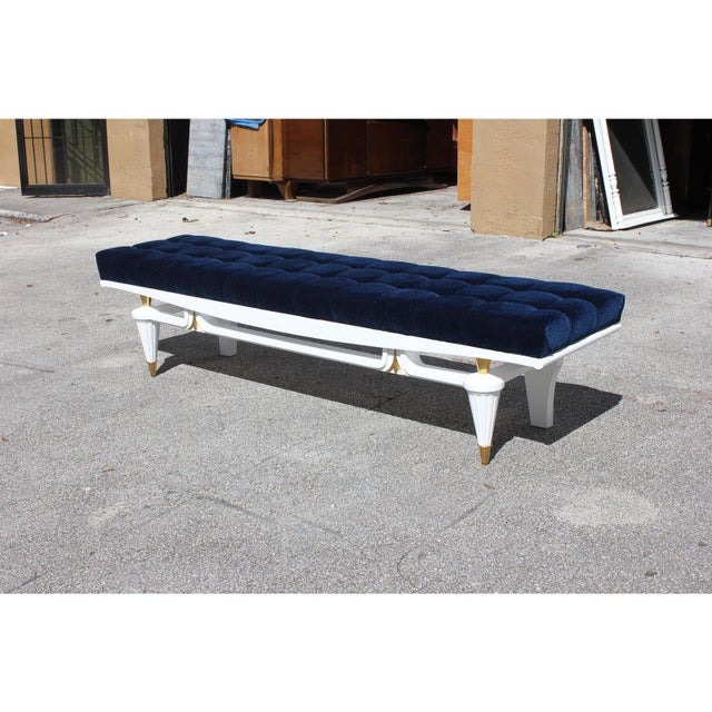 Mid-Century Modern 1940s Vintage French Art Deco Long Sitting Bench For Sale - Image 3 of 12