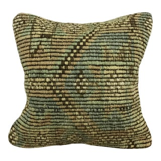 Tribal Turkish Handmade Green and Tan Pillow Cover For Sale