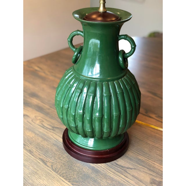 Boho Chic Green Faux Bamboo Lamp For Sale - Image 3 of 11