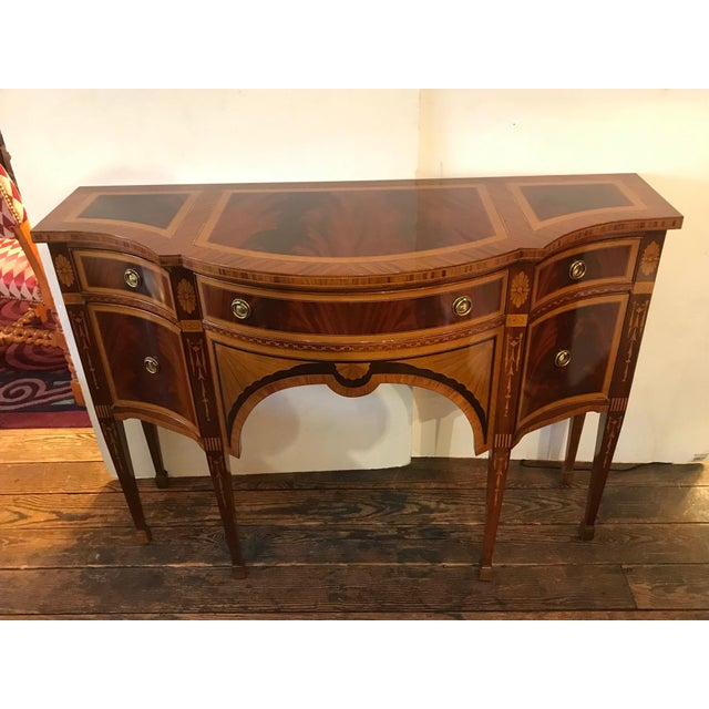 1980s Italian Colombo Mobili Superb Ornately Inlaid Mixed Wood Console For Sale - Image 11 of 11