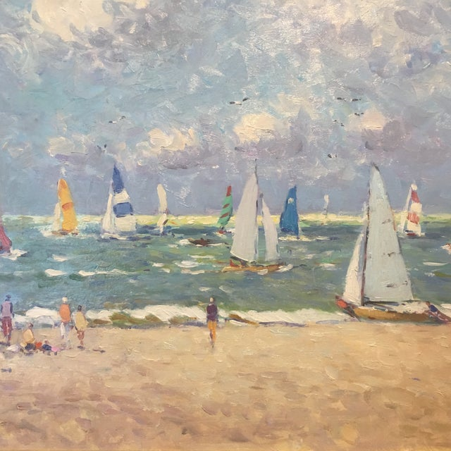 """This is a painting of """"Regatta"""" by a contemporary Dutch artist Niek van der Plas. He is known mainly for his impressionist..."""