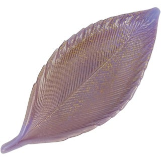 Salviati Murano 1950s Purple Gold Flecks Italian Art Glass Vanity Ring Leaf Bowl For Sale