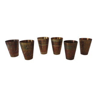 Set of Six (6) Moroccan Hand Painted Brass Drinking Cups For Sale